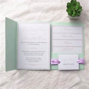 mint wedding invitations cheap simple mint green pocket lavender ribbon wedding invitations ewpi129 as low as 1 69