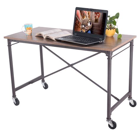 giantex computer desk laptop writing table wheels rolling