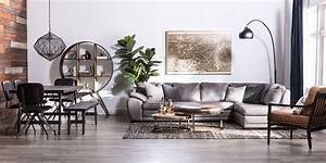 Industrial Living Room With Vaughn Granite Sectional
