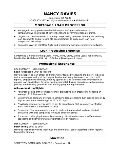 mortgage loan processor resume sle