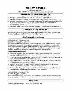 mortgage loan processor resume sample monstercom With mortgage loan processor resume template