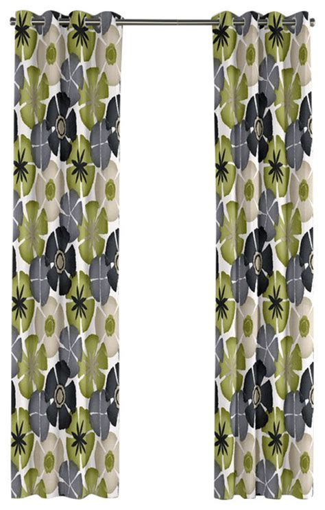 gray floral curtains gray and green floral citrus grommet curtain tropical