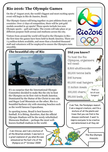 reading comprehension package olympics 2016 by