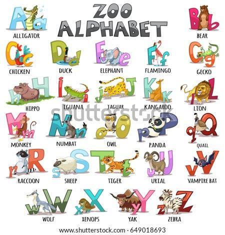 alphabet kids abc animals letters cartoon stock vector
