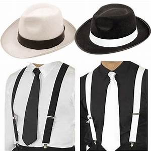 ADULT GANGSTER DELUXE TRILBY HAT BRACES TIE 1920'S GATSBY ...