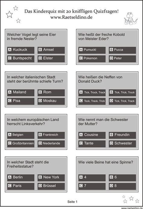 Urlaubs Checkliste Ausdrucken Ankreuzen Abreisen by Kinderquiz F 252 R Kinder Ab 8 Jahren Kinderquiz