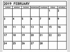 Download February 2019 Editable Calendar Template Free
