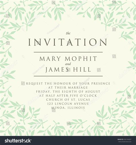 invitation pattern olive branch template wedding stock
