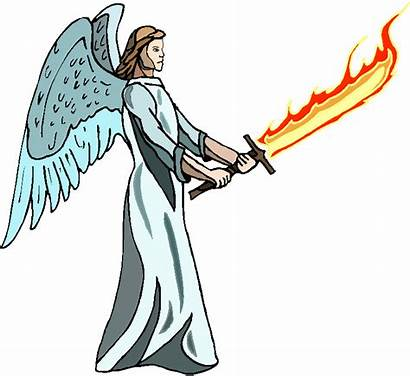 Sword Angel Clipart Gabriel Fire Flaming Clip