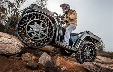 Polaris Airless Tires by Inspired Atv With Airless Unpoppable Tires