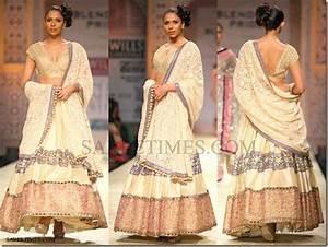 Cream designer lehenga style saree with lace border work ...