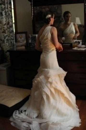 Ivory Organza One Shoulder Structured Fit And Flare Gown
