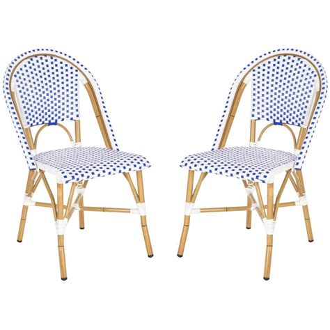 safavieh salcha blue and white outdoor dining chair pack