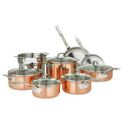 viking  piece tri ply copper cookware set  price  shipping ebay