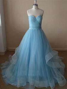 Beautiful Handmade Light Blue Tulle Prom Gowns 2017, Blue ...