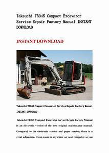 Takeuchi Tb045 Compact Excavator Service Repair Factory