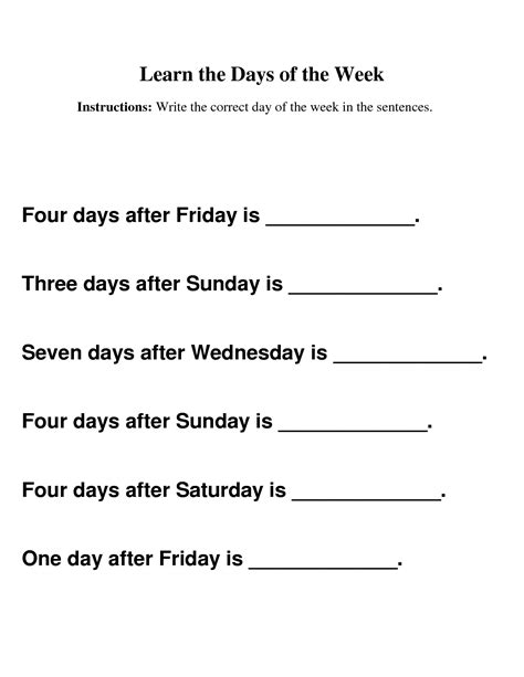 days of the week worksheet for kiddo shelter