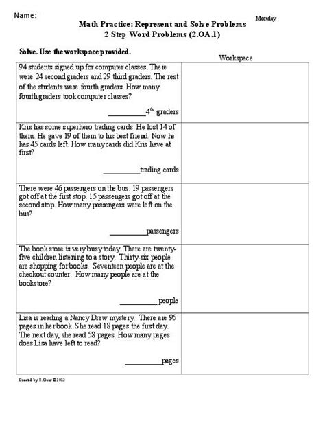 13 best images of 2 step word problems worksheet two