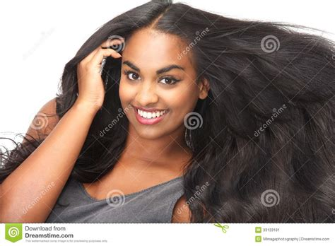 Beautiful Woman Smiling With Flowing Hair Isolated On