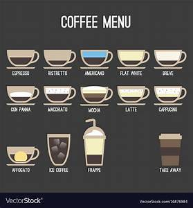 Coffee Recipe Type And Menu Design Royalty Free Vector Image
