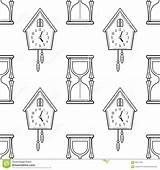 Coloring Hourglass Clock Cuckoo Seamless Pattern Books Colorare Orologio Bianco Nero Disegno Vector Pagine Clessidra Modello Senza sketch template