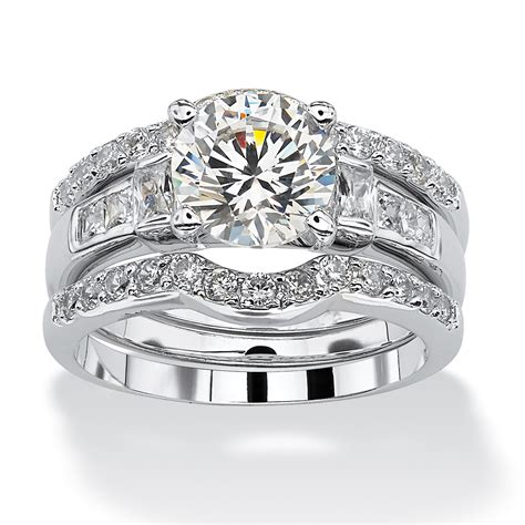 2 95 tcw cubic zirconia platinum over sterling silver 3 piece bridal engagement ring