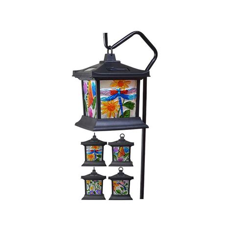 stained glass solar lights moonrays floral stained glass solar powered integrated led