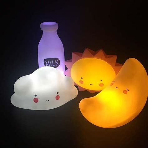 lights that look like sunlight novelty smile face cartoon moon led night light sun cloud