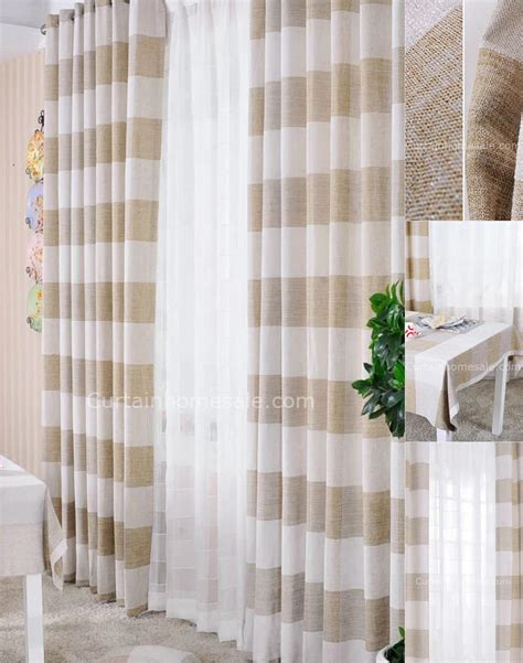 light brown and white curtains horizontal striped curtains