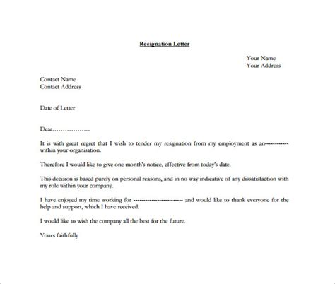 formal resignation letter template  word excel