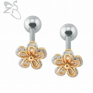Popular Flower Shaped Stud Earrings Clear Crystal Ear ...