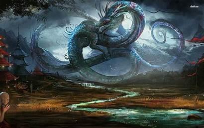 Dragon Fantasy Wallpapers Chinese Village Ancient Dragons