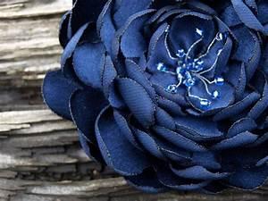SALE Dark Blue Flower Brooch or Hair Clip. Rose