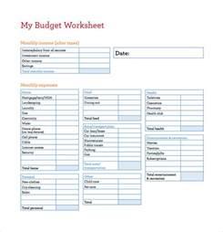 Budget Worksheet Templates Free Download