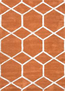 Hand-Tufted Geometric Pattern Wool/ Art Silk Orange/Ivory ...