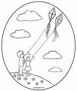 Kite Flying Coloring Kites Pages Fly Drawing Children Clip Cubbies Awana Getdrawings Getcolorings Printable Colorin Sweetclipart sketch template