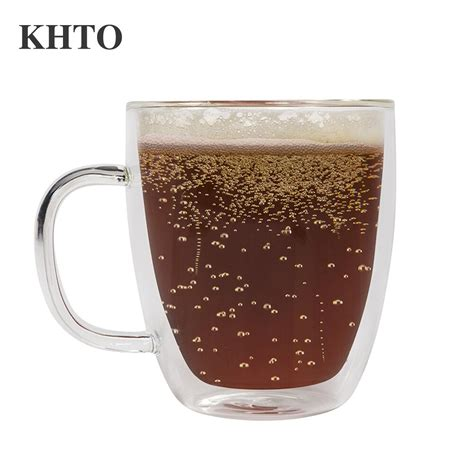 Buy glass coffee mugs and get the best deals at the lowest prices on ebay! KHTO Glass Mug Double Wall Large Coffee Mugs with The Handle Mugs Drinking Insulation Glass Tea ...
