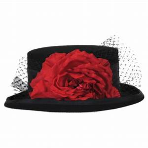Toucan Rose Veil Coachman Wool Felt Top Hat Dress Hats