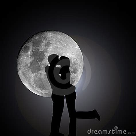 kissing lovers  night  moon stock photography