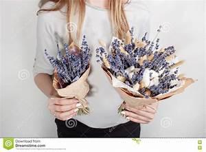 Bouquet Fleur De Coton : belle lavande de bouquet coton transitoire avec chez la main de la femme fleur color e de ~ Teatrodelosmanantiales.com Idées de Décoration