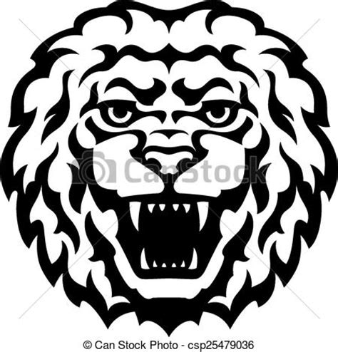 tatouage lion tete tete illustration stylise lion