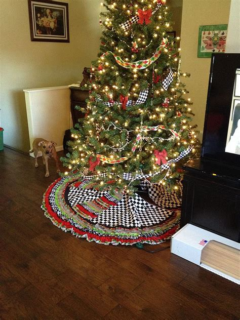 hometalk ribbon tree skirt  beaded garland