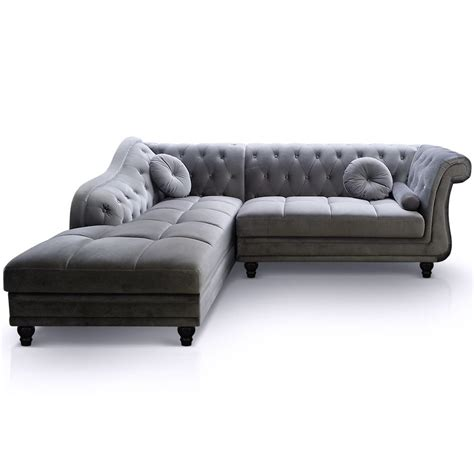 canapé chesterfield en velours canapé d 39 angle droit en velours gris chesterfield