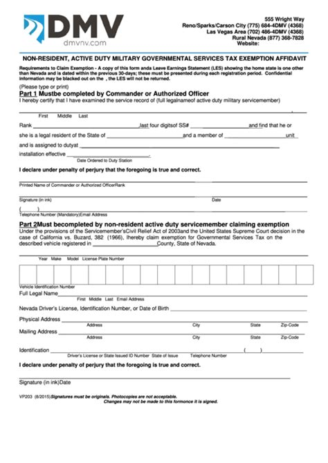 fillable form vp 203 non resident active duty governmental services tax exemption