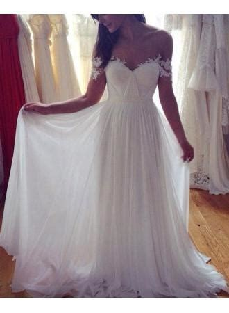 simple elegant  shoulder beach wedding dresses