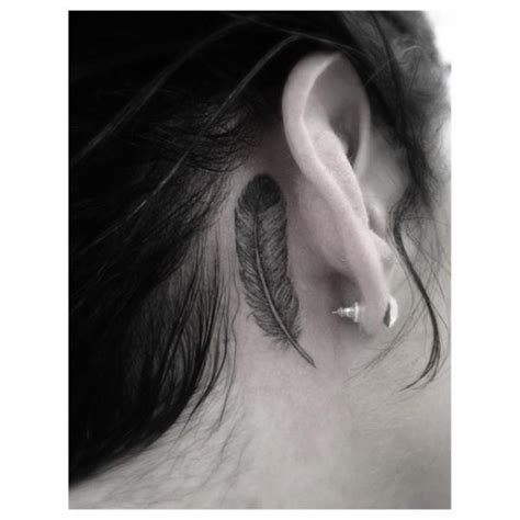 cool feather tattoo  ear  dr woo  tattoo