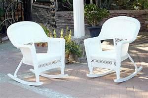Set, Of, 2, Ariel, White, Resin, Wicker, Outdoor, Patio, Garden, Rocking, Chairs, 36, U0026quot