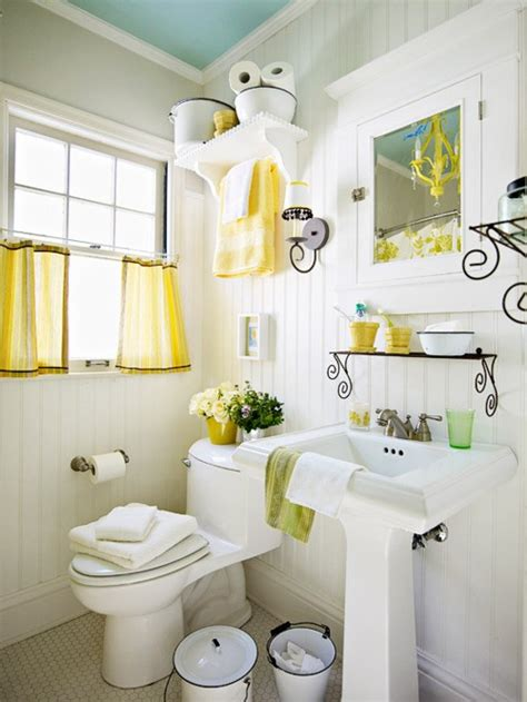 small bathroom decorating themes yellow accents cottage bathroom