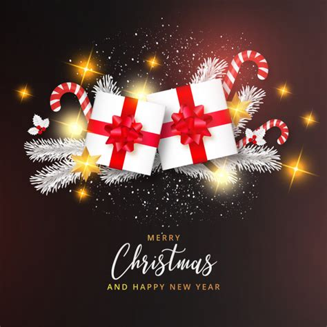 Inscriptions happy new year, mockups of christmas toys, color and black and white vector images of santa claus and snow maiden. Realistic merry christmas and happy new year card with ...