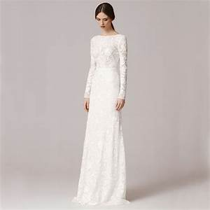 Vnaix fw1252 vintage lace long sleeve sheath wedding dress for White long wedding dress